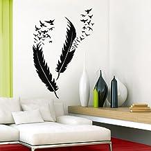 Grandora W5382 Muurtattoo veren met vogels I beige M-Set I Woonkamer Slaapkamer Veer Vogel Sticker Muursticker Muursticker...