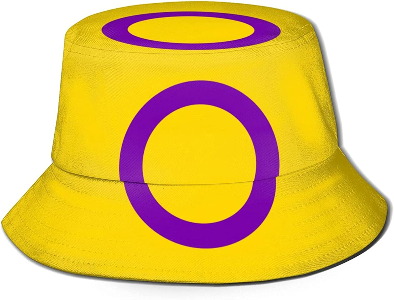 Intersex Pride Flag Unisex Bucket Hat Packable Summer Travel Beach Sun Hat Outdoor Fisherman Caps Black