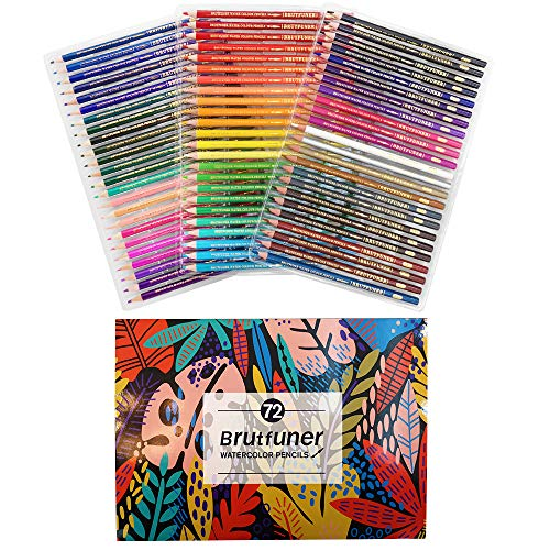 Roleness 色鉛筆 72色 塗り絵 水性色鉛筆セット アート水彩鉛筆 水性 Brutfuner 水彩ペン 大人 学生 子供 塗り絵用セット 美術 描き用 スケッチ用 プレゼント包装 鉛筆削り付き