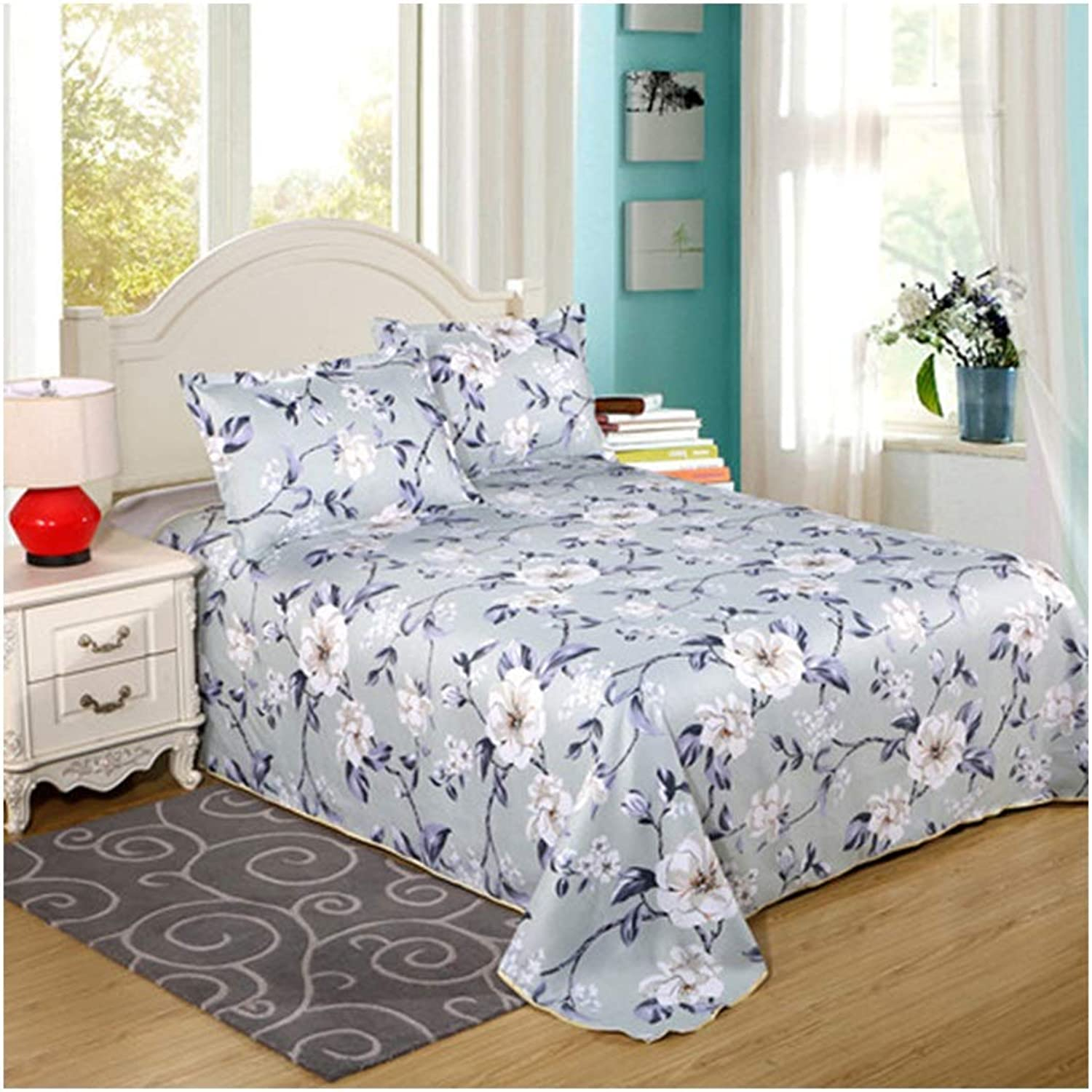 Sheets, 100% Cotton Student Dormitory Bedroom Hotel Bedspread1.5 1.8 2.3 2.5m Single Bed Double Bed (color   B, Size   150  230cm)