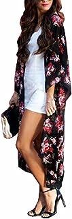 Yonala Women`s Swimsuit Cover up Beach Long Kimono Bathing Suit Chiffon Floral Cardigan