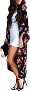 Women's Swimsuit Cover up Beach Long Kimono Bathing Suit Chiffon Floral Cardigan