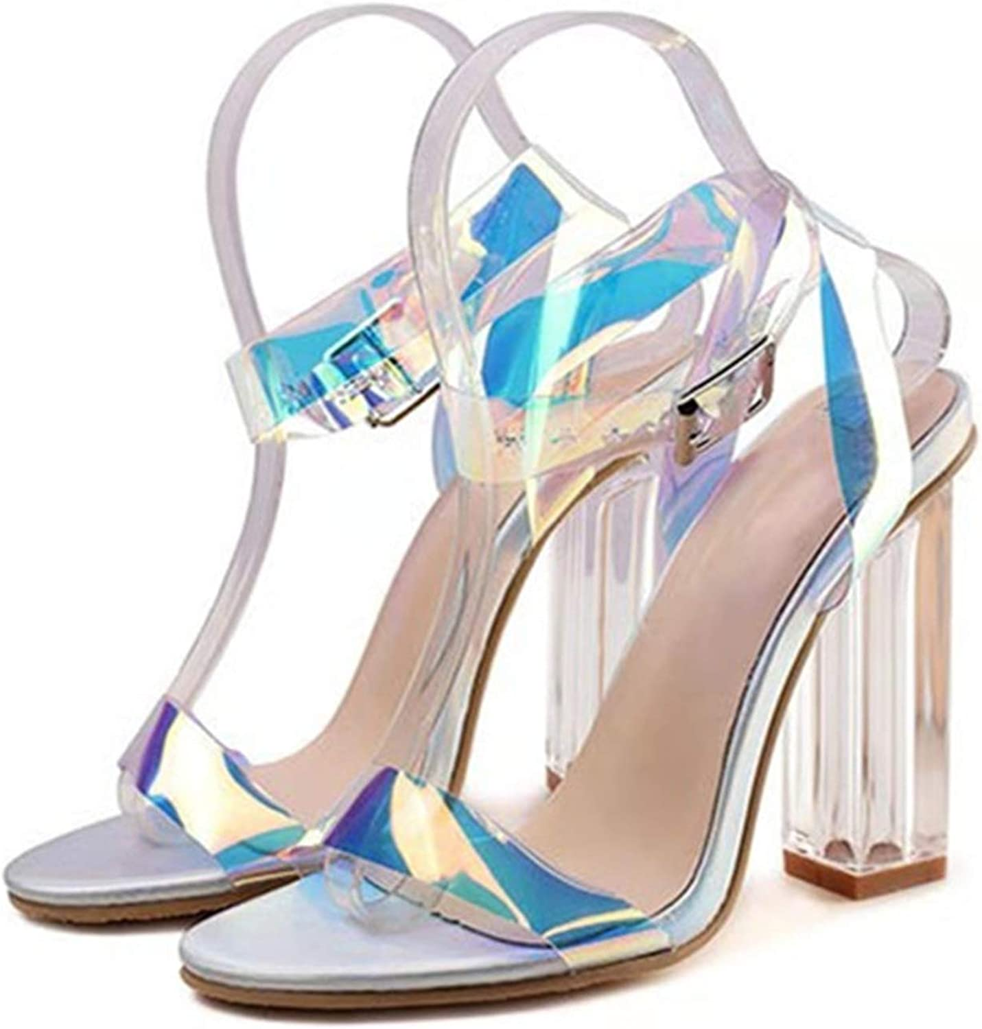 Elegant Women Sandals Thick High Heels Female Gladiator Sandals Summer Crystal Heeled Party shoes