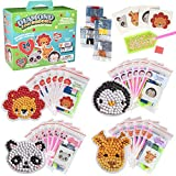 Kid's Valentine's Day Cards + Diamond Painting Kits - Zoo Buddies (24ct) - Card & Craft Gift for Boys and Girls - Animal Paint by Numbers & Gem Stickers - Funny & Unique School Valentine Exchange