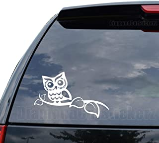 Cute Owl Tree Branch Decal Sticker Car Truck Motorcycle Window Ipad Laptop Wall Decor - Size (05 inch / 13 cm Wide) - Color (Matte White)