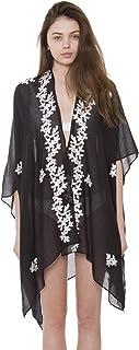BYOS Womens Breezy Soft Lightweight Stylish Boho Printed Kimono Cardigan Beach Pool Cover-up W/Fringes Tassels, Many Styles