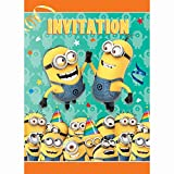 """Package of 8 party invitations Despicable Me Birthday Invitations measure 5.5"""" x 4"""" Invitations have ample space for writing event details and come with 8 envelopes for easy mailing Coordinate with other Despicable Me Minions themed party supplies an..."""