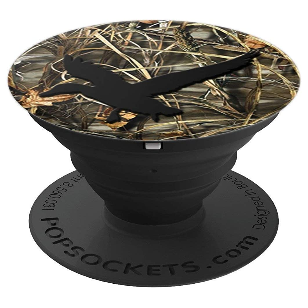 Duck Hunting Black Brown Camouflage Camo Background - PopSockets Grip and Stand for Phones and Tablets