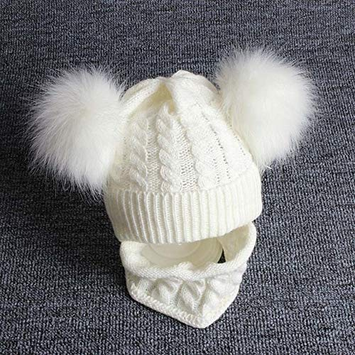 Neugeborene Baby Hut Schal Set Pompon Cartoon Säugling Baby Mädchen Junge Wintermütze Für Kinder Warm Gestrickte Kinder Jungen Mädchen Mütze Mütze-1set White