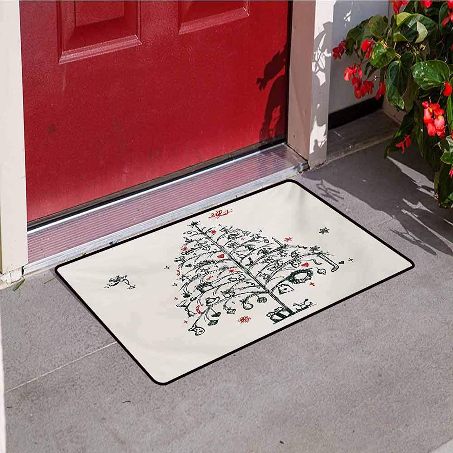 Jinguizi Christmas Inlet Outdoor Door mat Fairies with Wands and Tree Hand Drawn Style with Wreath and Stockings Image Catch dust Snow and mud W23.6 x L35.4 Inch Red and Green