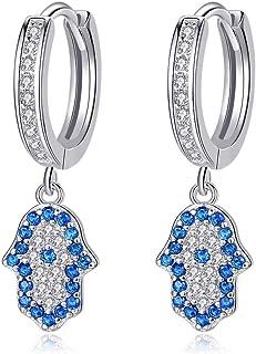 Pendientes de aro con diseño de mano de Hamsa azul para protección de plata de ley 925, circonita cúbica para mujer