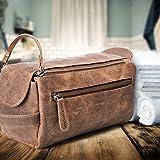 Kulturbeutel/Kulturtasche für Herren von moonster | Handgemachtes Necessaire aus echtem Leder | Robuste, kompakte und praktische Reise-Waschtasche mit Fächern u. großem Stauraum - 3