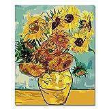 BOSHUN Pintar por Numeros para Adultos Niños Pintura por Números con Pinceles y Pinturas Decoraciones para el Hogar Girasol de Van Gogh (16 * 20 Pulgadas, Sin Marco)