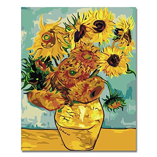 BOSHUN Holzrahmen Malen nach Zahlen DIY Ölgemälde für Kinder Erwachsene Anfänger- Sonnenblume von Van Gogh 16x20 Zoll Leinwanddruck Wandkunst Dekoration
