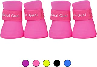HongYH Pet Dog Rain Boots Antiskid Waterproof Snow Shoes for Little Pet Dog Candy Colors Dog Wellies