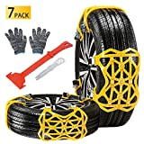 Qoosea Snow Chains 7 Pack Universal Car Anti-Skid Emergency Adjustable Tire Chains for Cars SUV Truck Driving...