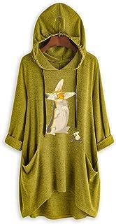 TOPBIGGER Women's Long Sleeve Kangaroo Pockets Sunflower Letter Print Casual Baggy Pullover Shirt