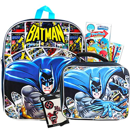 Batman Backpack with Lunch Box for Toddlers Kids Bundle Set ~ Deluxe 11