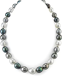 THE PEARL SOURCE 14K Gold 9-12mm Genuine Baroque Multicolor Tahitian South Sea Cultured Pearl Necklace in 16