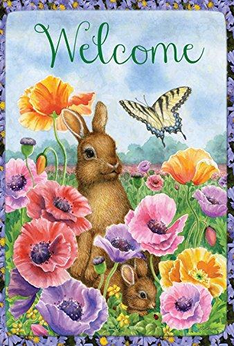 Toland Home Garden Bunny Poppies 12.5 x 18 Inch Decorative Spring Poppy Flower Easter Rabbit Welcome Garden Flag