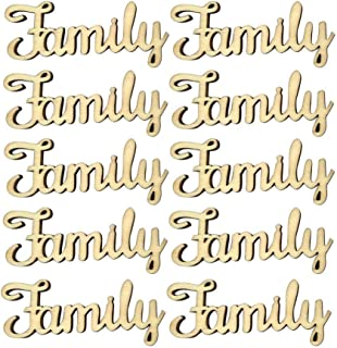 10pcs Wooden Family Letter Ornaments Rustic Crafts Wooden Family Word Alphabet Script for Family Tree Crafts Home Wedding DIY Decorations