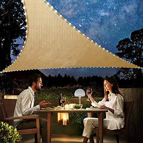 Toldo Vela De Sombra para Exteriores 5x5x5m, Protección Rayos UV Vela Solar Triangular con Cadena De Luz LED para Jardín Balcón Y Terraza