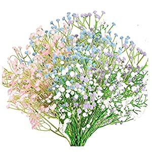 Artificial Flowers 12PCS Gypsophila Flowers Bouquets Fake Flowers Silk Flowers, UV Resistant Plants Greenery Faux Plants for Wedding Home DIY Decoration