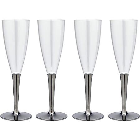 ストリックスデザイン プラスチック シャンパンカップ mozaik(モザイク)正規品 4個 シルバー 125ml 軽くて割れにくい 使い捨て 組み立て式 パーティ アウトドア MB-296