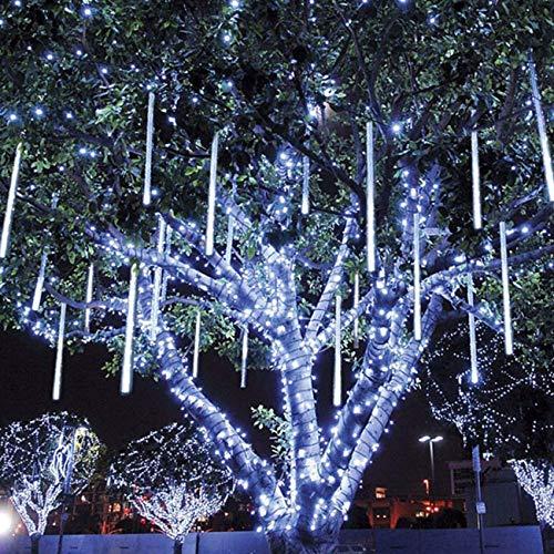 Meteorschauer Lichterkette Wasserdichte Meteor Shower Lichter mit EU Stecker für Garten/Hochzeit/Party/Weihnachten Dekoration (Weiß, 30 cm)