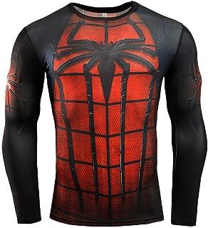 HOOLAZA Avengers Super Heroes Hombres Camiseta de Manga Larga de compresión Hombres Running Motion Camisa Larga Hombres Fi...
