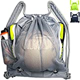 Tigerbro Basketball Backpack with Ball Holder Compartment Detachable Mesh Soccer Bag Sports Gym Drawstring Waterproof Volleyball Backpacks with Waterbottle & Shoes Compartment for Boys Women Men Youth