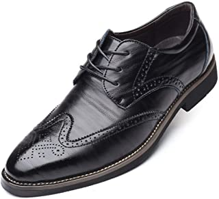 XueQing Pan Brogue Carving Oxfords for Men Business Shoes Lace up Microfiber Leather Rubber Sole Pointed Toe Stitch Anti-Skid Burnished Style (Color : Black, Size : 8.5 UK)