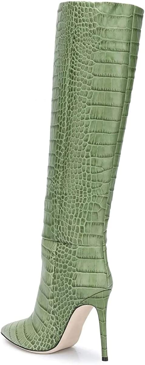 bashafanni Knee High Boots Womens Stiletto High Heels Boot Pointed Toe Pull On Booties Dress Crocodile Texture Shoes