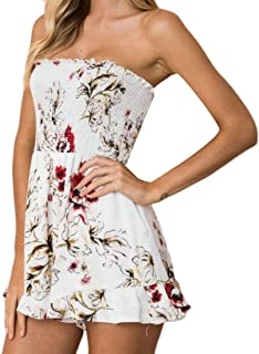 Womens Sexy Bandeau Off Shoulder Short Printed Playsuit Jumpsuits Rompers