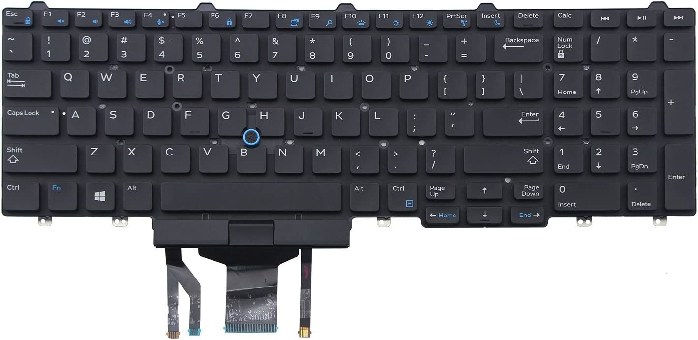 New US Black Backlit English Laptop Keyboard (Without Frame) Replacement for DELL Precision M3520 M7520 M7720 3520 7520 7720 Light Backlight