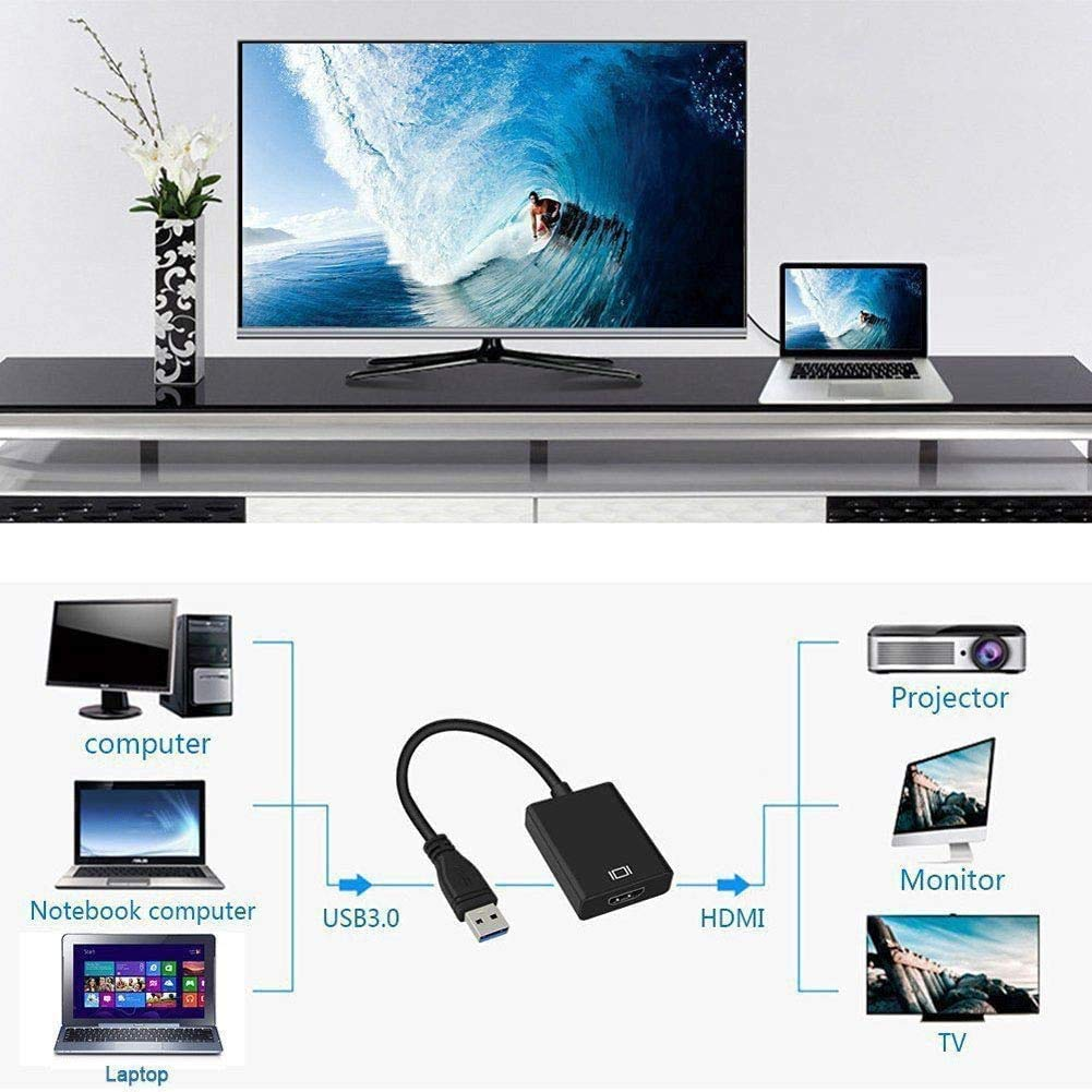 LIDEDE Adaptador USB a HDMI, USB 3.0 a HDMI Full HD 1080P (Macho a Hembra) de vídeo y Audio multipantalla Compatible con Windows 7/8/10 (Black): Amazon.es: Electrónica