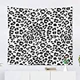 Suklly Tapestry Wall Hanging Polyester Black White Color Cow Spots Leopard Pattern Fabrics Scrap Booking Cheetah Animal Home Decor Living Room Bedroom Dorm 60 x 80 inches Picnic Mat Beach Towel