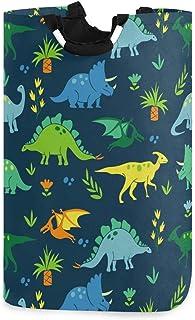 DOMIKING Panier à linge coloré en forme de dinosaure - Panier à linge pliable pour chambre d'enfant - Sac de rangement ave...
