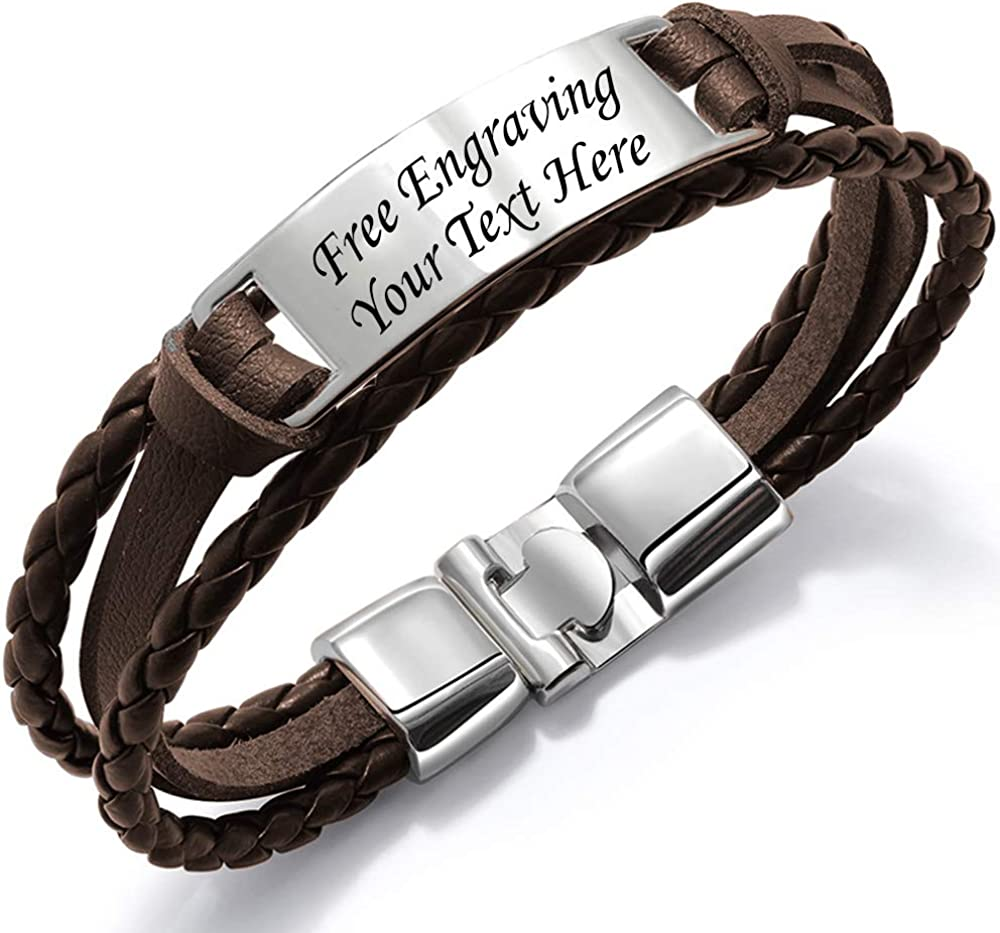 Personalize Engraved Customized Braided Multilayer Leather Bracelet Custom Leather Free Engraving