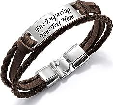 Kedar Personalize Engraved Customized Braided Multilayer Leather Bracelet Custom Leather Free Engraving