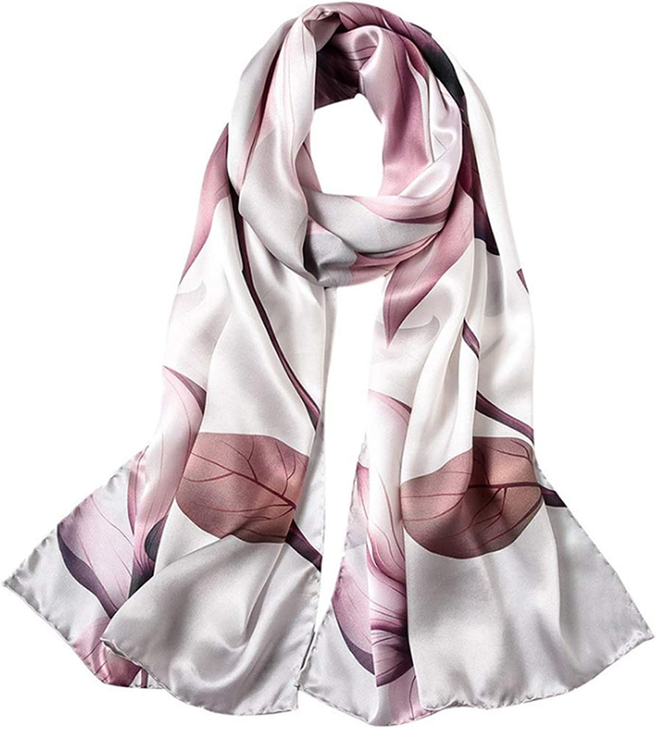 Silk Scarf Long Women Flowers Mulberry Scarf Shawl Dual Scarf (color   Pink)