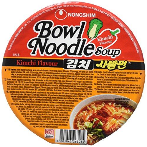 NongShim Kimchi Instant Noodle Soup Bowl, 86 g, Pack of 12