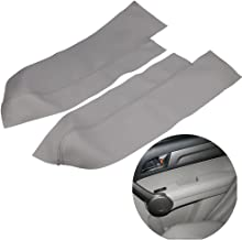 QKPARTS 2(1Pair) Real Leather Front Door Panels Armrest Cover For Honda Cr-V Crv 2007-2012 (Leather Only) Gray