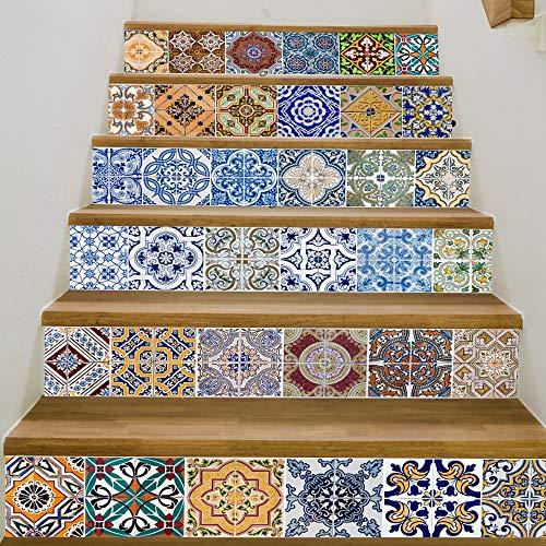 Lianlili 6 PCS 3D Marruecos Estilo Escaleras Autoadhesivas Etiqueta Cerámica Azulejos PVC Escalera Fondo de Pantalla Vinilo Vinil Mural Escalera Decoración