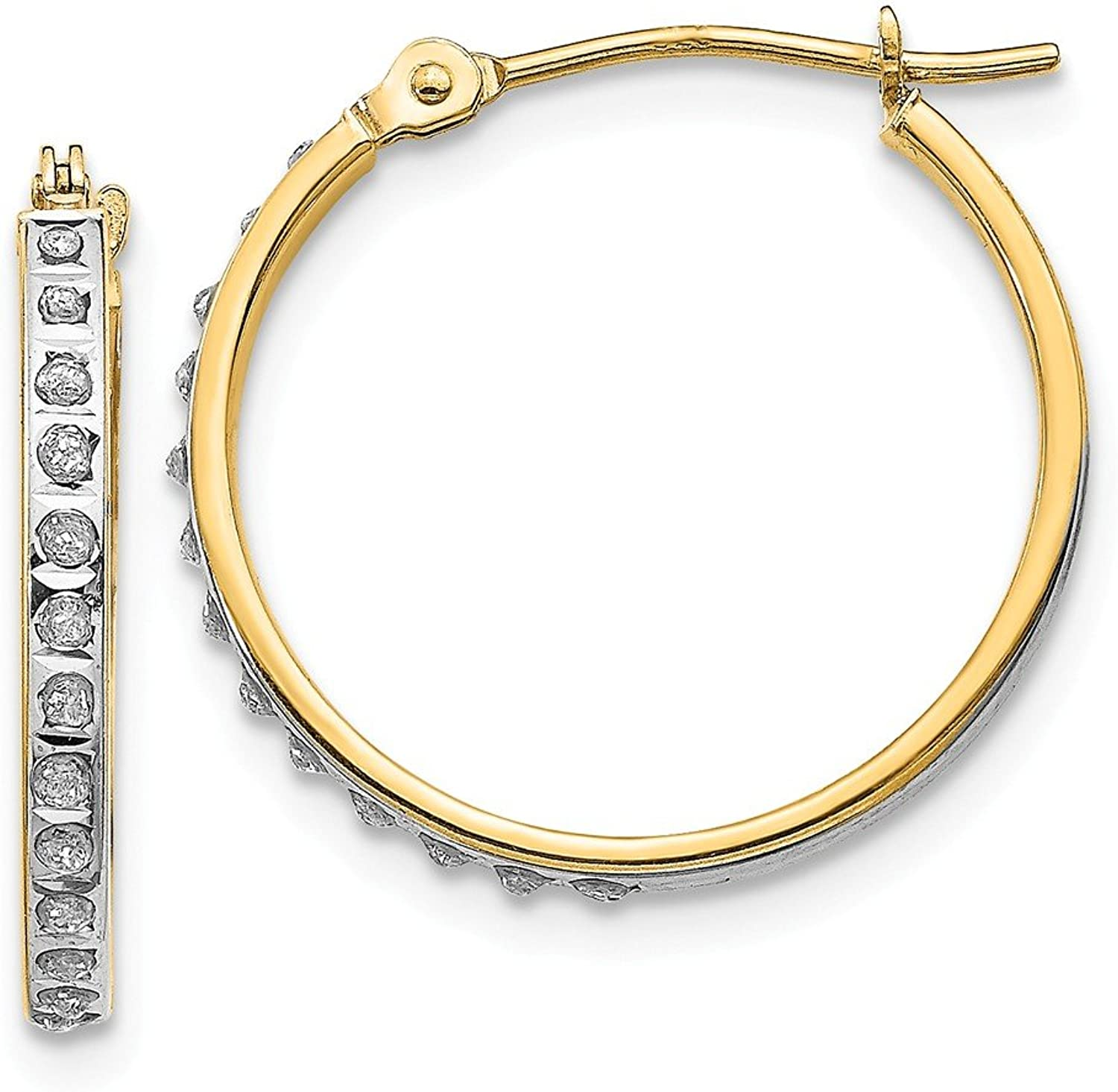 Beautiful Yellow gold 14K Yellowgold 14k Diamond Fascination Round Hinged Hoop Earrings