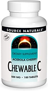 Source Naturals Chewable C, Acerola Cherry 500 mg For Immune System Support - 100 Fruit Flavored Tablets
