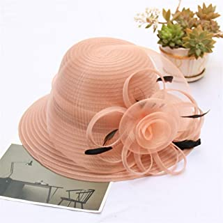 Hat IBHT The new spring and summer organza hat feather flower fashion wedding hat large brimmed sun hat dome beach 1