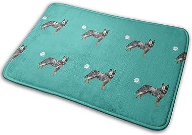 Australian Cattle Dog Fart Funny Cute Dog Breed Blue Heeler Teal_23454 Doormat Entrance Mat Floor Mat Rug Indoor/Outdoor/Fron