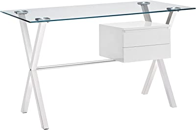 Modway Stasis Contemporary Modern Glass-Top Office Desk In White