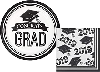 2019 Graduation Party Supply Pack for 18 Guests - Bundle Includes Paper Dessert Plates & Napkins in School Spirit Colors (White)